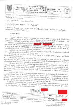 Răspuns oficial al Gărzii de mediu Maramureș cu privire la poluarea generată de AVIVA SRL pe strada Bobâlna din Sighet