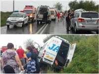 ACCIDENT - Microbuzul JAN de pe Ruta Arad - Sighet a fost implicat într-un grav accident de circulație: doi morți și mai mulți răniți