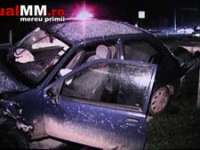 ACCIDENT: Pieton lovit pe trecerea de pietoni pe DN1C Baia Mare - Dej, după care mașina a aterizat pe o conductă de gaz