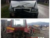 ACCIDENTE: Impact între o autoutilitară și un tractor la Fărcașa. Două persoane rănite la Borșa