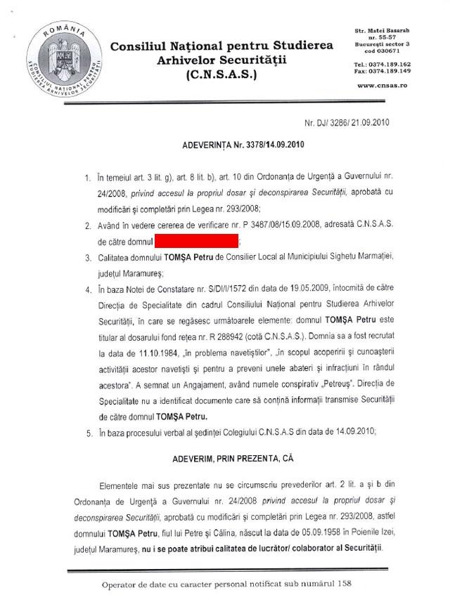 Documentul oficial care demonstrează că Tomșa Petru, consilier local și co-președinte al PNL Sighet, a fost racolat ca INFORMATOR AL SECURITĂȚII