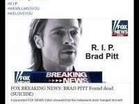 Alarmă pe Internet față de o știre care anunță moartea lui Brad Pitt