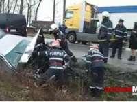 BAIA MARE: Un autoturism a fost cuprins de flăcări în urma unui accident