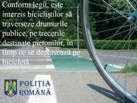 Bicicliştii şi şoferii care s-au abătut de la respectarea normelor rutiere sancţionaţi de poliţişti