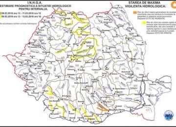 Cod galben de inundaţii pe râurile din bazinele hidrografice Vişeu, Iza, Lăpuş