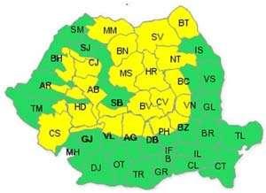 COD GALBEN de ninsori şi viscol în Maramureş si alte 25 de judeţe