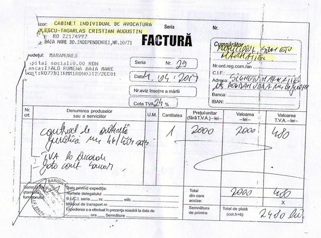 Contractul în original dintre Primărie și avocatul Țâgârlaș, pentru care Ovidiu Nemeș a fost trimis în judecată în dosarul Avocații