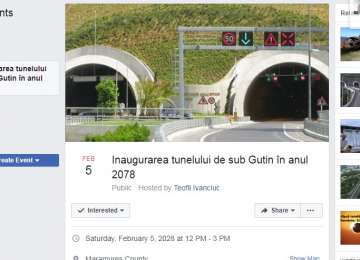 Din viitor: Eveniment pe Facebook - Inaugurarea tunelului pe sub Gutâi