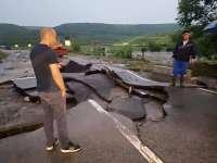 Drumul European 581, distrus din cauza inundațiilor