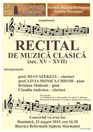 """FESTIVALUL """"AETERNUS MARAMOROSIENSIS"""" - Din program: Recital de muzică clasică"""