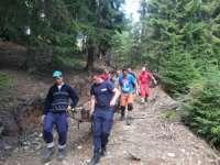 FOTO: Jandarmii din cadrul Postului Montan Borşa au intervenit pentru a salva o persoană din Munţii Rodnei