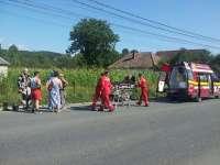 FOTO - SIGHET: Un motociclist german a fost accidentat de către o autoutilitară mică