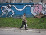 """GALERIE FOTO - """"Marele Zid Țigănesc"""" din Baia Mare, pictat de către studenții de la Artă din Cluj"""