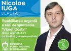 """Iuga Nicolae, candidat pentru Camera deputaților (PMP): Se impune reabilitarea urgentă a sălii de spectacole """"Viorel Costin"""" (fosta sală """"Studio"""")"""