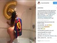"""""""Miss Bum Bum"""" a sărbătorit calificarea istorică a Barcelonei, pozându-se GOALĂ pentru Messi"""