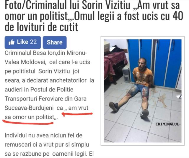 Am vrut să omor un polițist - a declarat ucigașul polițistului de la Suceava