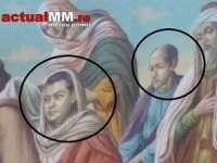 Preotul și sponsorul echipei de fotbal Viitorul Ulmeni, pictați pe peretele bisericii