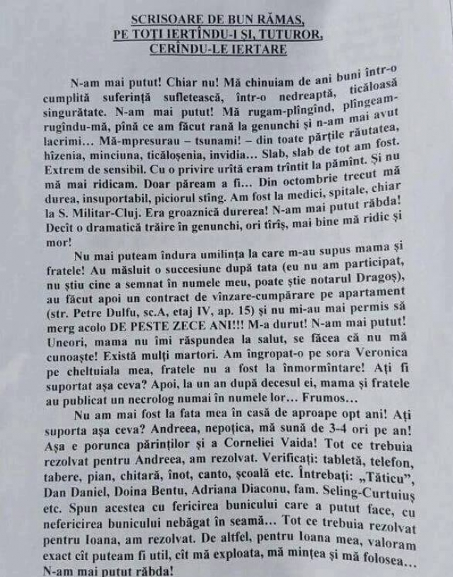 Testamentul lui Octavian Butuza. Acuze grave aduse lui Iustin Sigheteanu