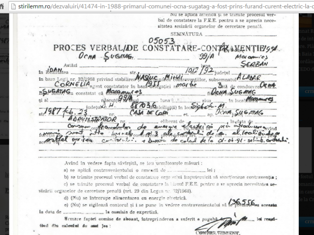 Acuze grave la adresa Primarului din Ocna-Șugatag: În anul 1988 acesta a fost prins furând curent electric la Casa de Copii
