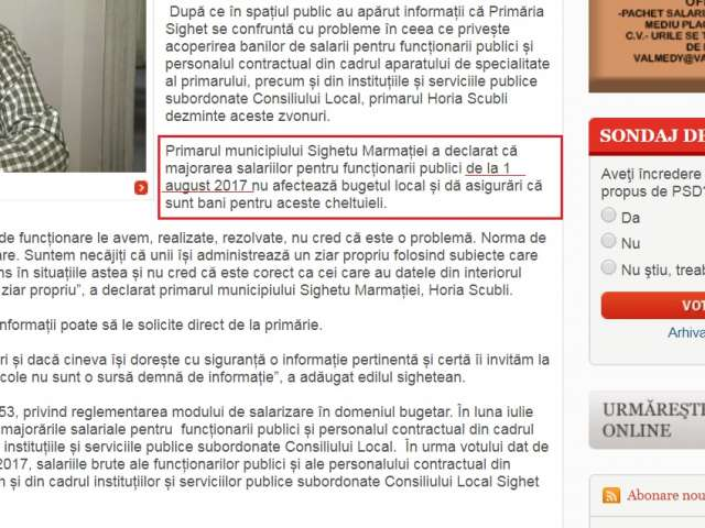Primarul Horia Scubli infirmă că ar exista probleme cu plata salariilor în Primăria Sighet, dar habar nu are de când s-au mărit acestea