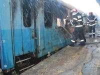 Un vagon dezafectat a fost cuprins de flăcări în Gara CFR Baia Mare
