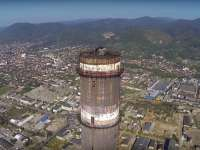 VIDEO - Imagini unice cu faimosul Turn al Combinatului di Baia Mare, surprinse din dronă