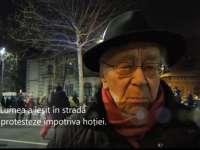 VIDEO - În vârstă de peste 100 de ani, filosoful Mihai Șora a participat la proteste în Piața Victoriei din București