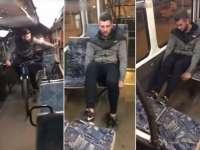 VIDEO - Tânăr filmat în timp ce vandaliza un tramvai
