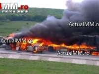 VIDEO - Trei persoane au decedat în urma unui accident în care au fost implicate două TIR-uri și un autoturism. Unul dintre TIR-uri este înmatriculat în Maramureș