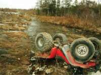 Vişeu de Sus: Două femei s-au răsturnat cu ATV-ul într-un pârâu, de la o înălţime de cinci metri