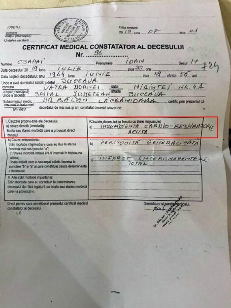 Medicii legiști confirmă că intervenția violentă a jandarmilor a condus la moartea bărbatului din Vatra Dornei