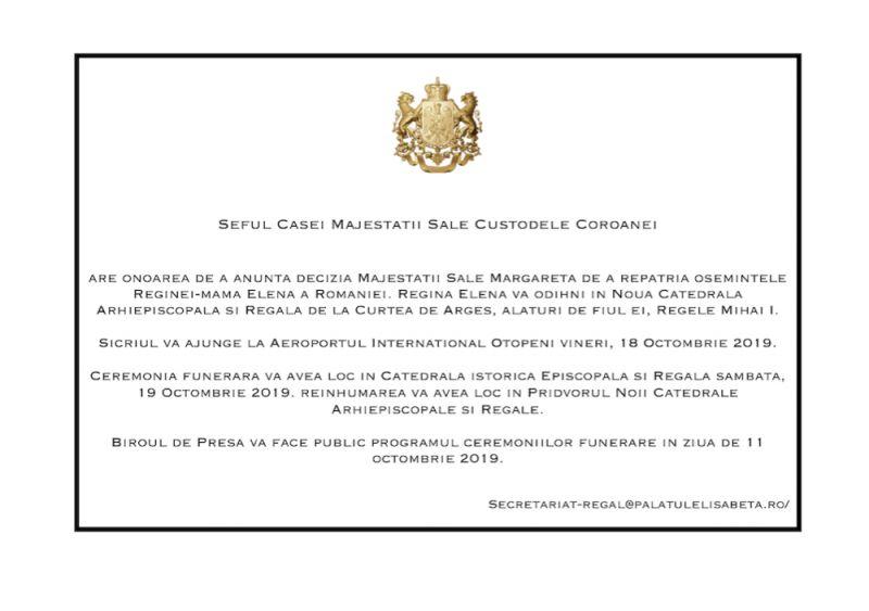 Osemintele Reginei Elena vor fi aduse din Elveţia şi vor fi înhumate la Curtea de Argeş