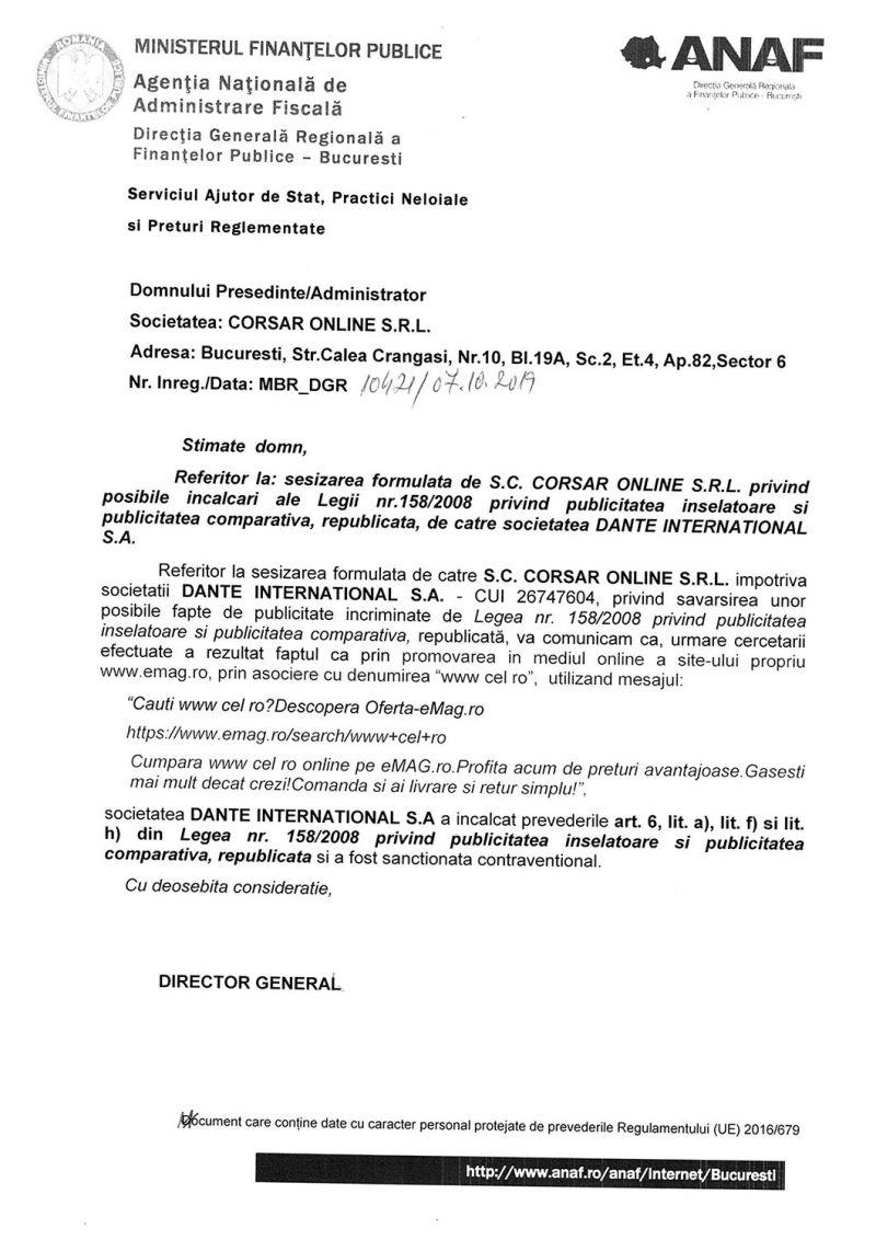 Emag a fost amendat pentru folosirea marcii inregistrate CEL.ro
